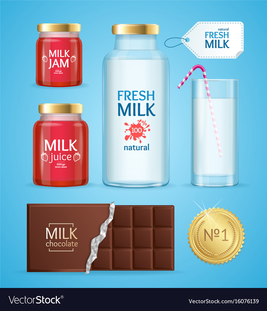 Realistic product with milk