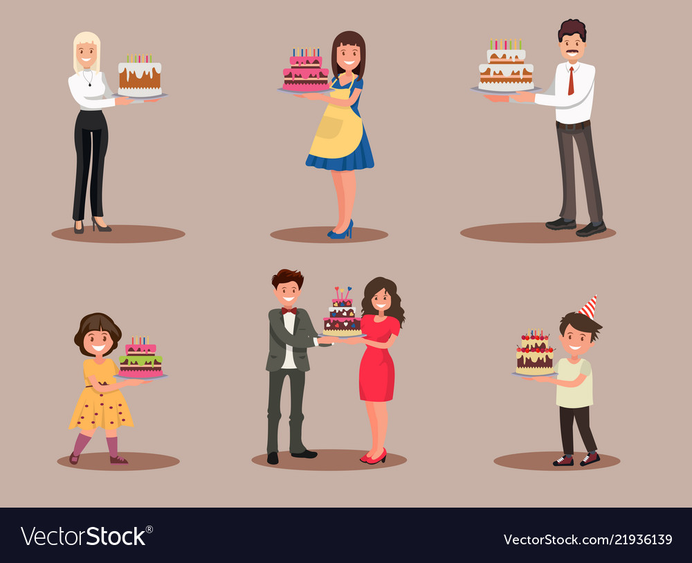 Set of characters with a cake office worker