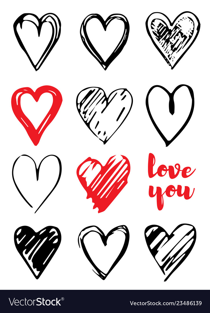 Valentine s day card design with hearts love you