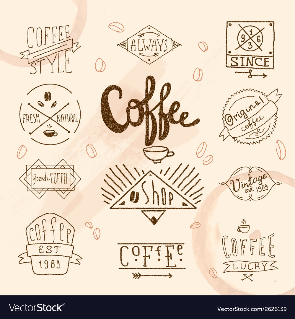 Vintage retro coffee labels vector image