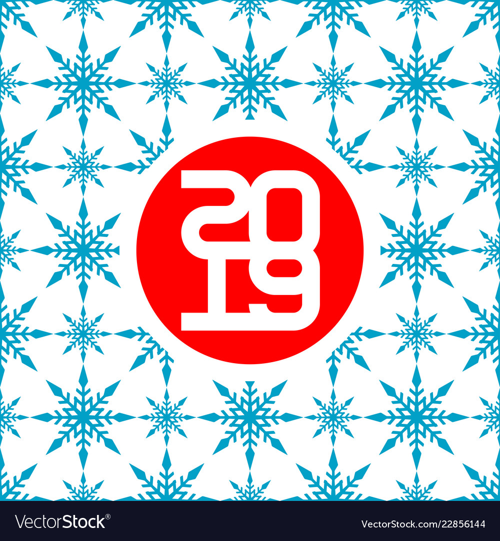 2019 happy new year card with seamless snow