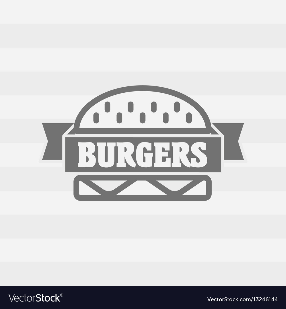 Burgers logo or badge concept with ribbon gray on