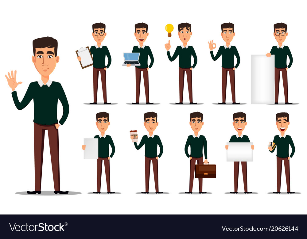 Business man cartoon character set