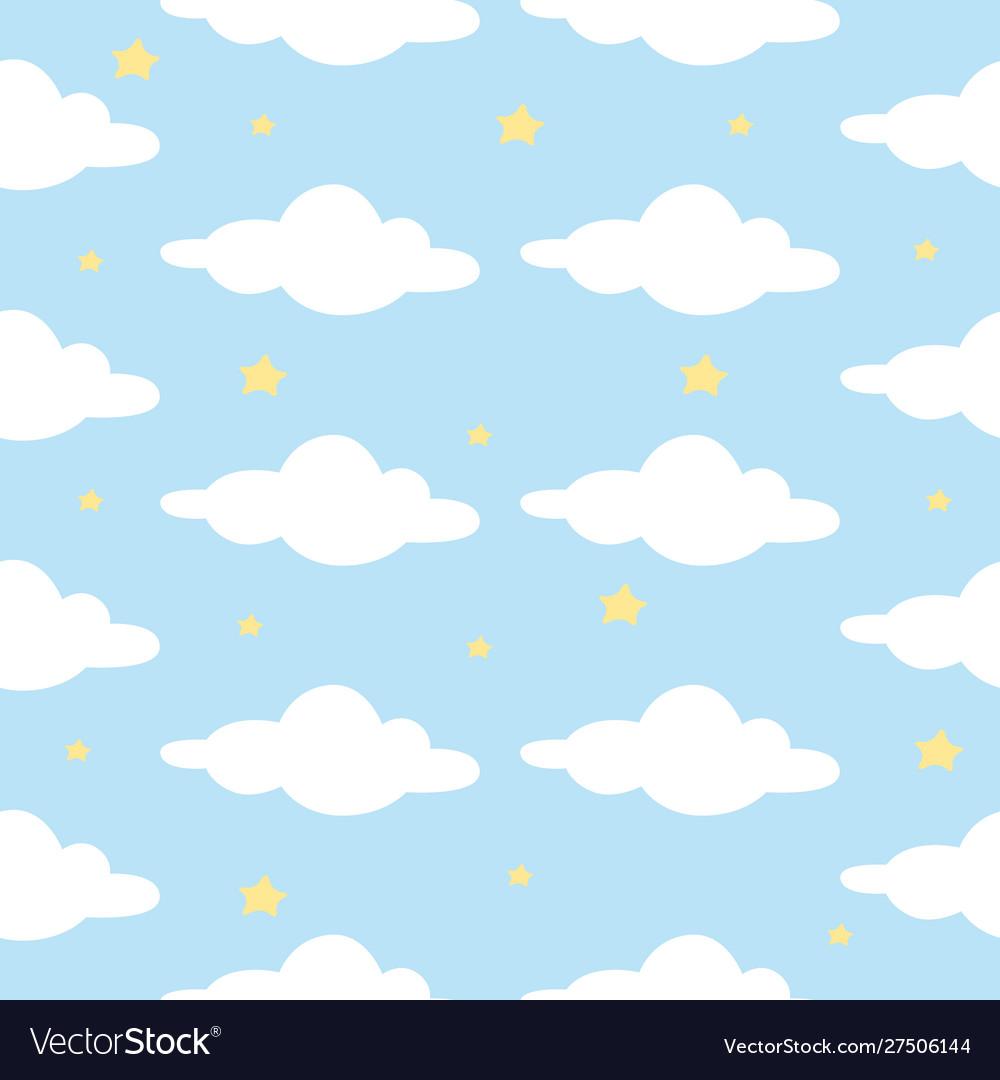 Cloud star in blue sky seamless pattern ready