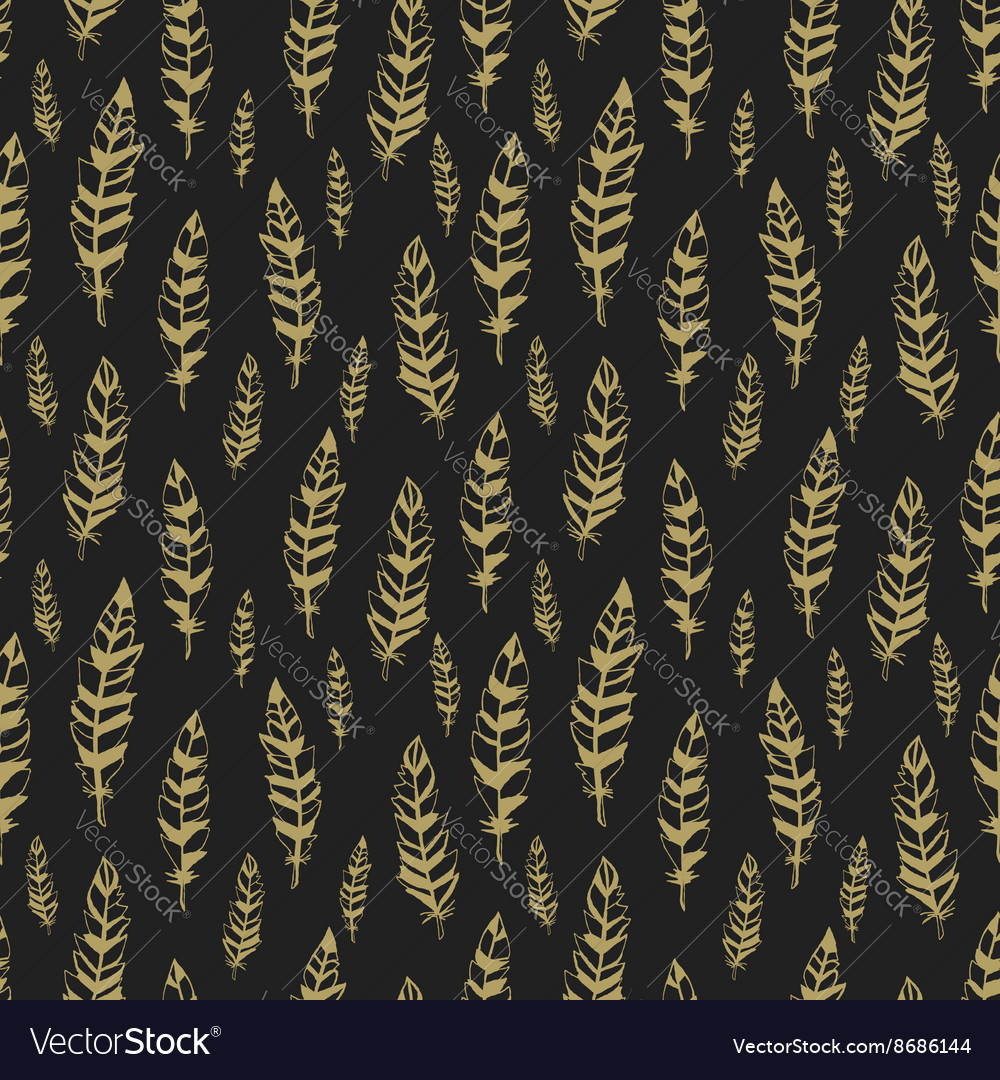 Dark and gold seamless pattern with feathers