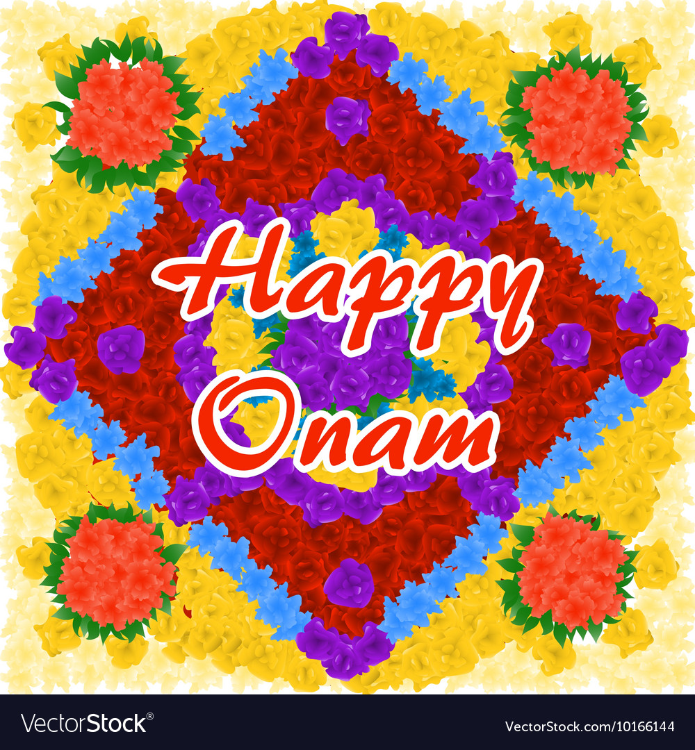 Flower background for Indian festival Happy Onam vector image