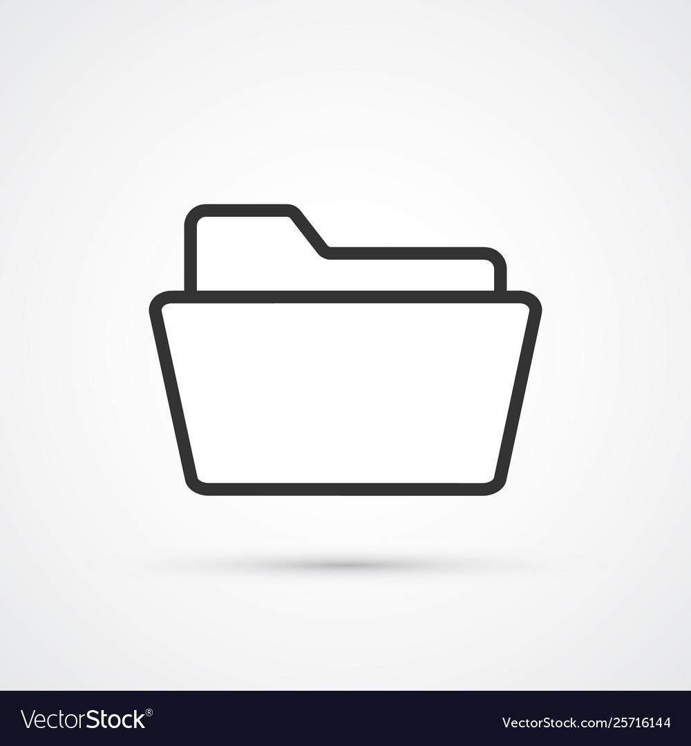 Folder flat line black icon eps10