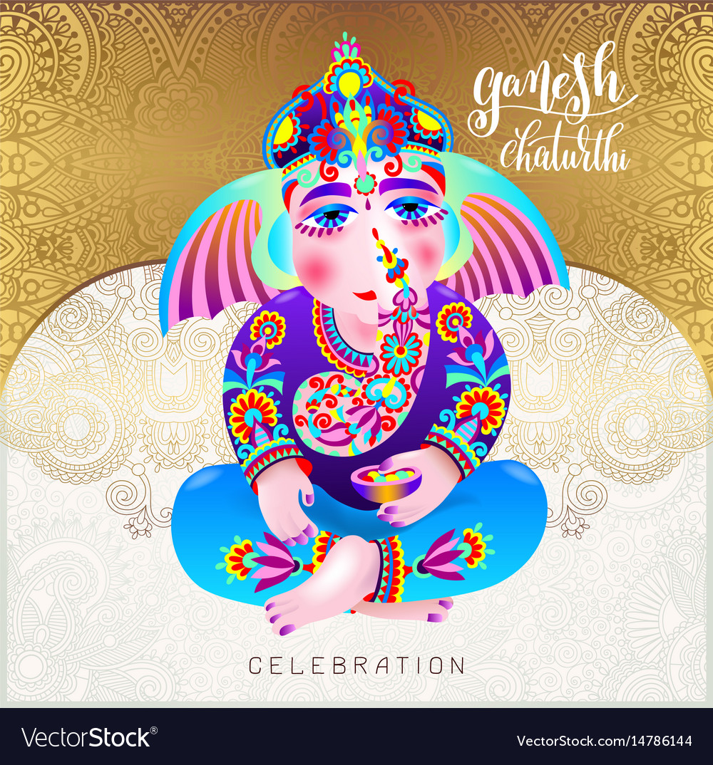 Ganesh chaturthi beautiful greeting card or poster