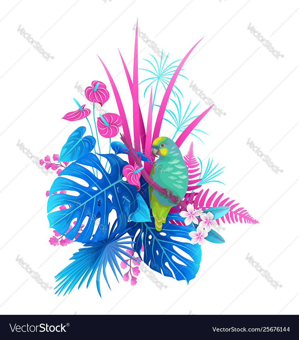 Green parrot and colorful tropical plants