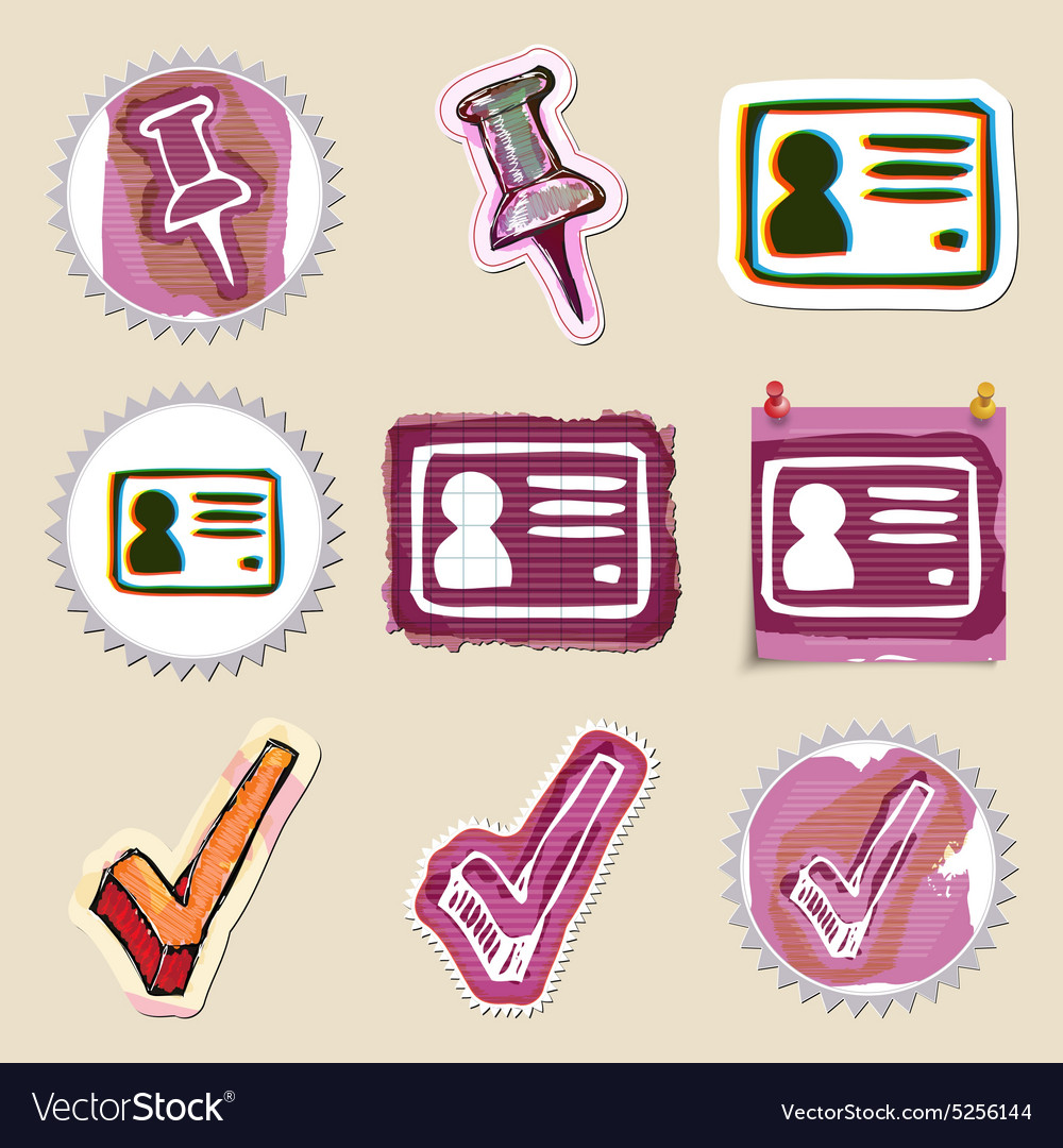 Hand drawn web emblems set Isolated