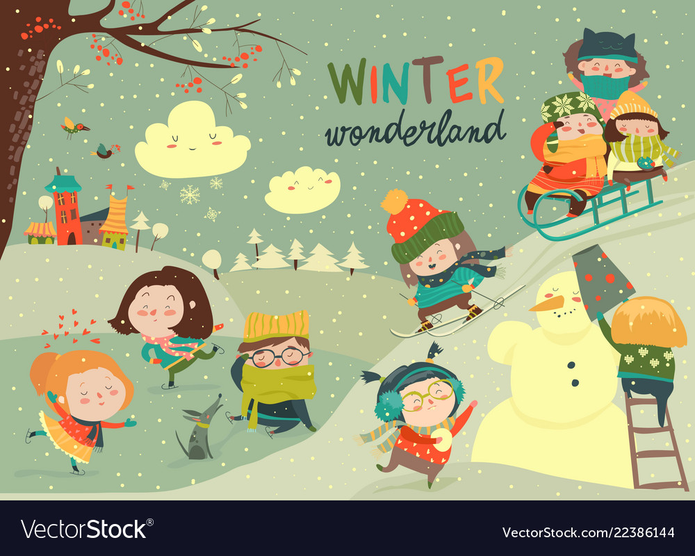 Happy cute kids playing winter games hello winter