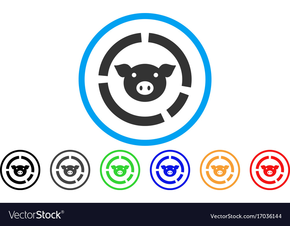 Pig Diagram Rounded Icon Royalty Free Vector Image