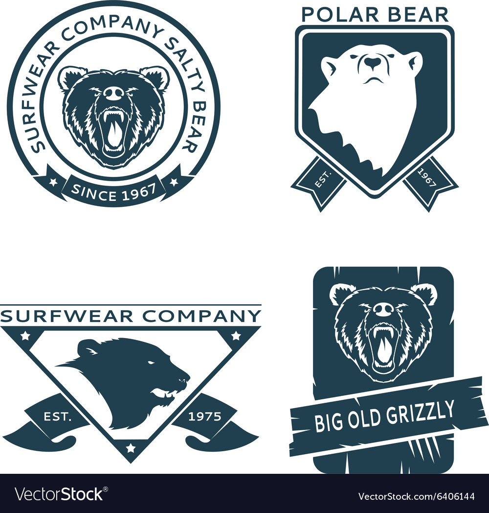 Retro vintage bear head logo templates set