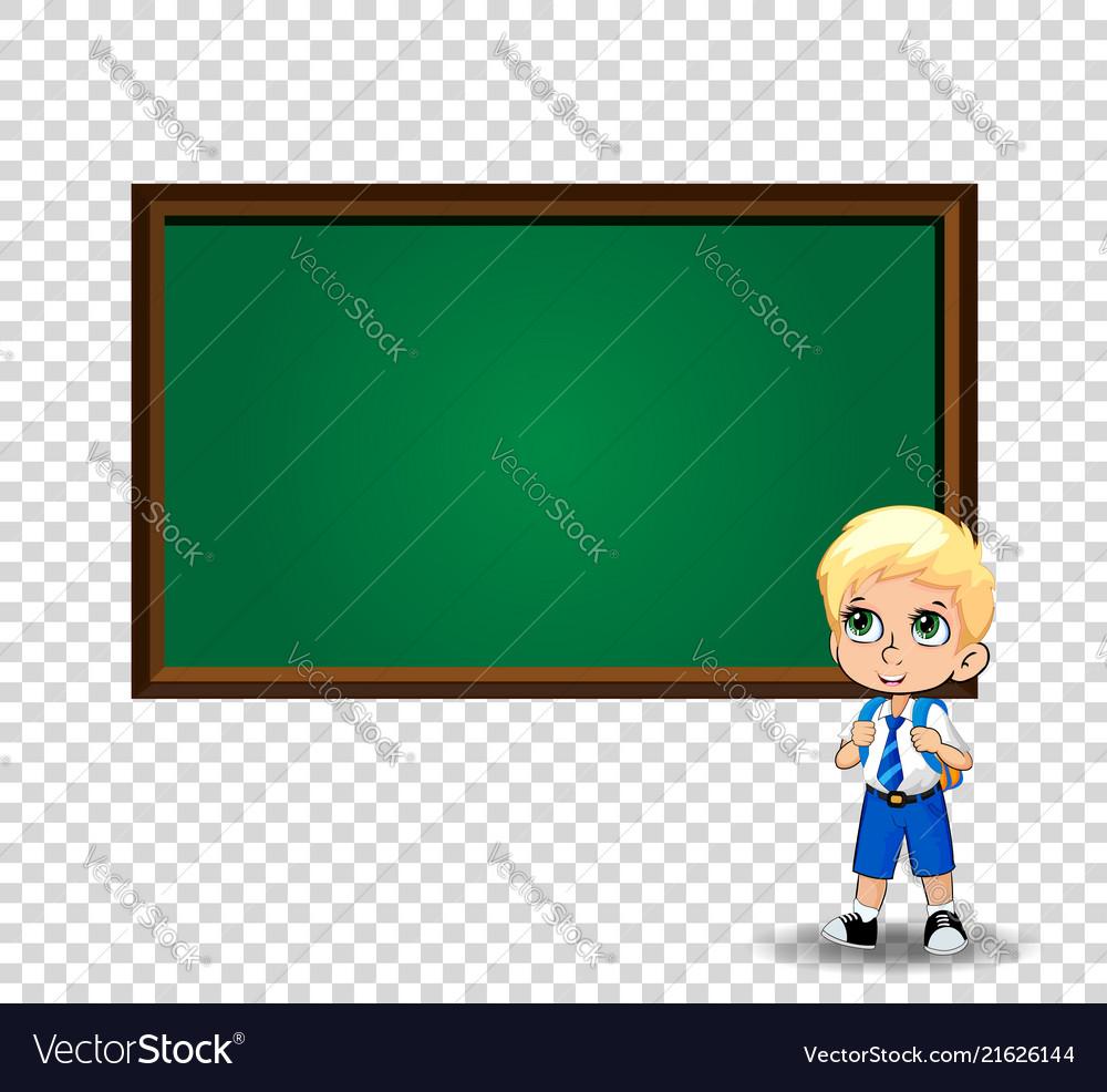 School boy near chalkboard with copy space on