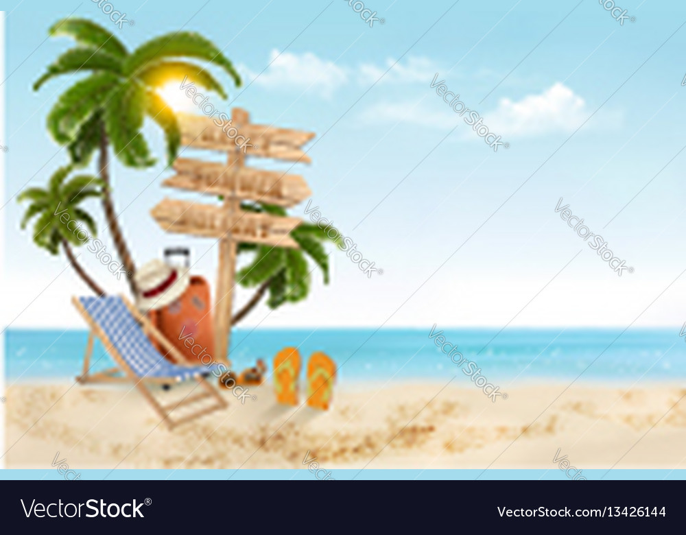Seaside vacation travel items on the beach