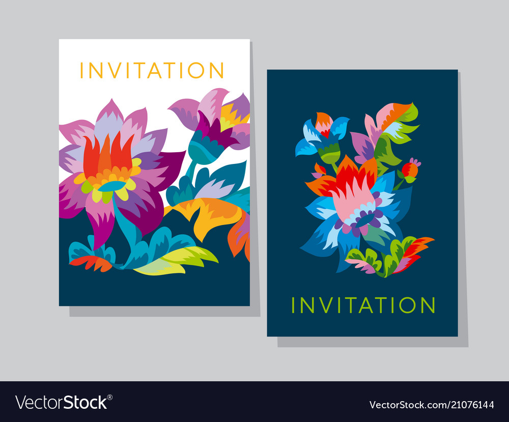 Vivid color bright naive flower pattern vector image