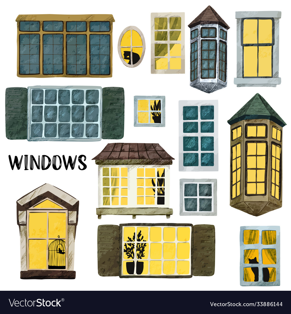 Watercolor windows set different shapes and sizes