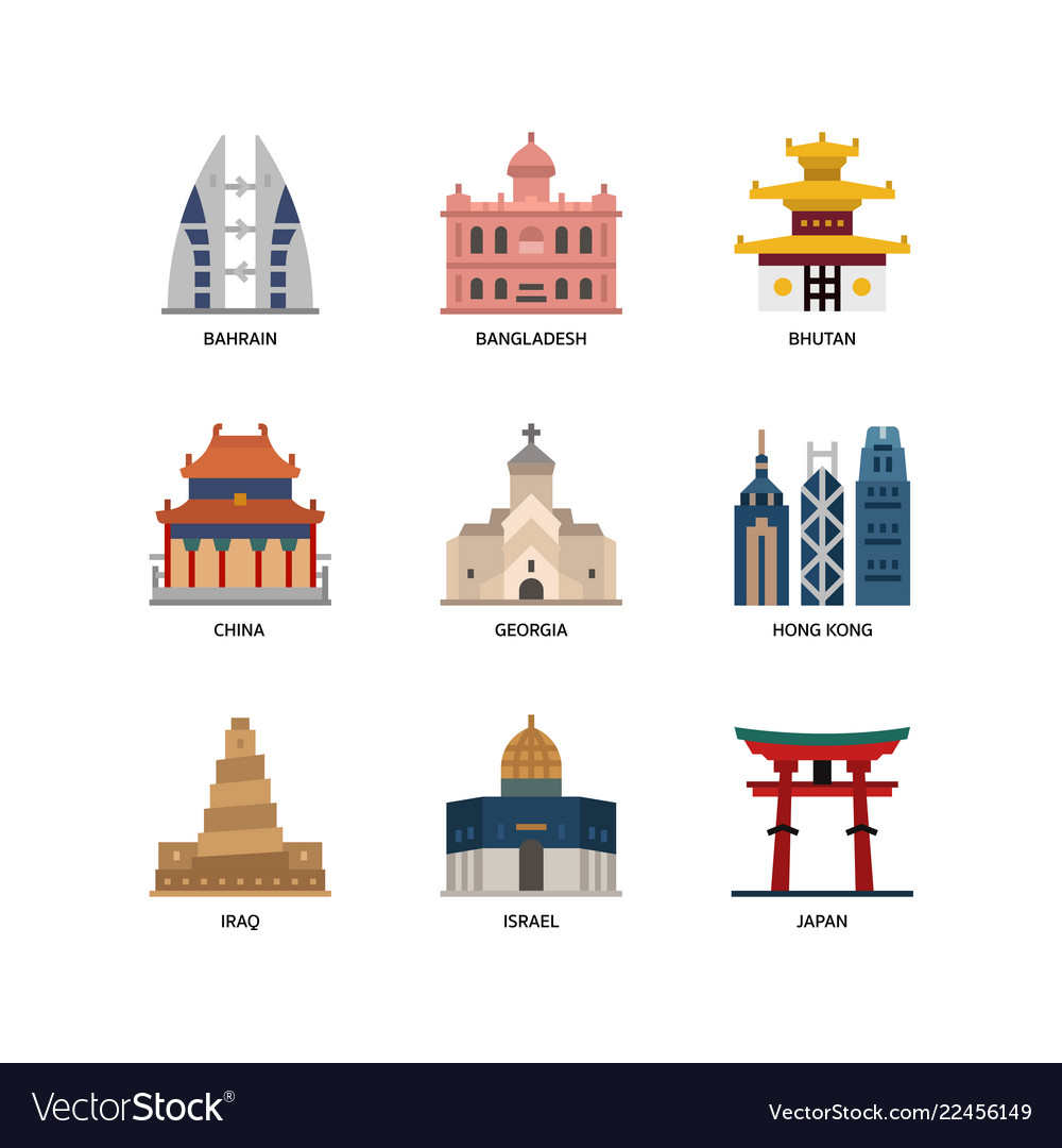 Asian cities and counties landmarks icons set 2