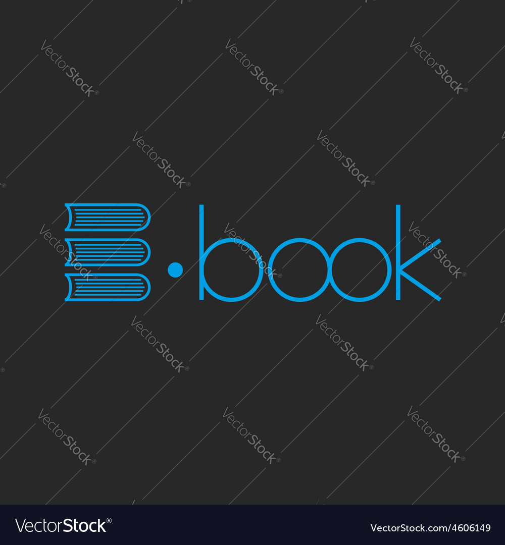 E-book logo abstract letter E of books mockup shop