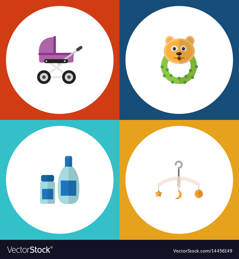 Flat baby set of cream with lotion rattle vector image