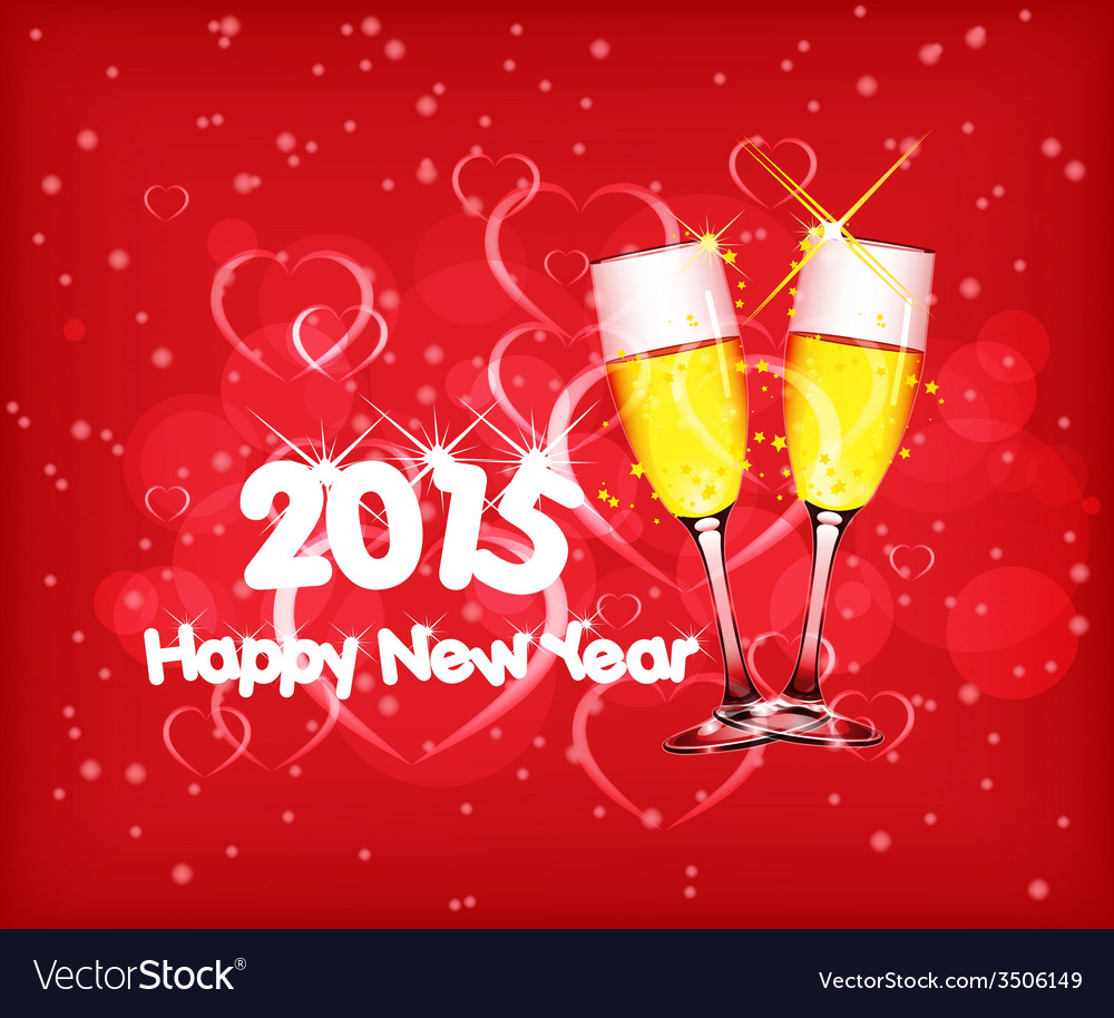 happy new year 2015 with wine vector image