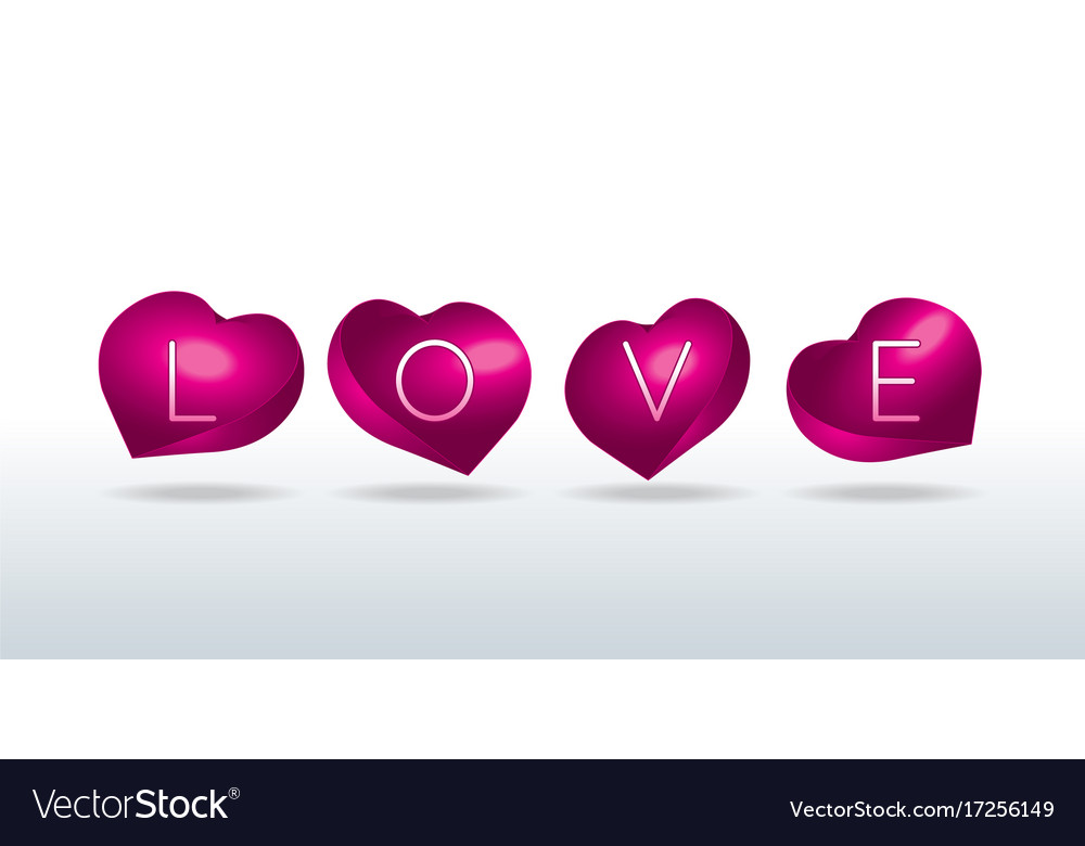 Love sign in shell-shaped hearts vector image