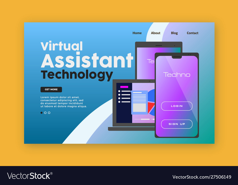 Mobile technology landing page laptop tablet and vector