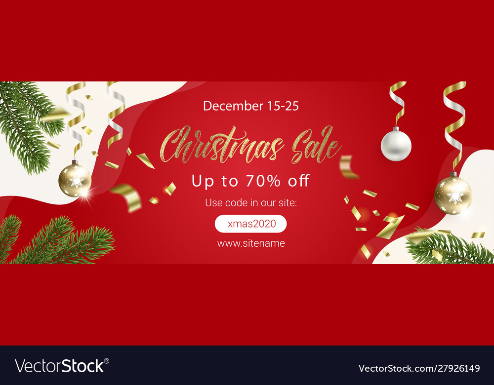 Red christmas sale banner with fir tree branches