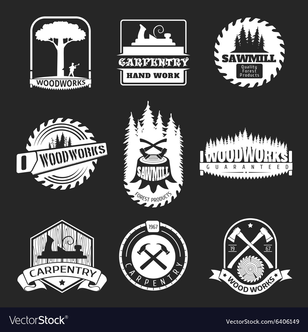 Retro woodwork and carpentry logo set in