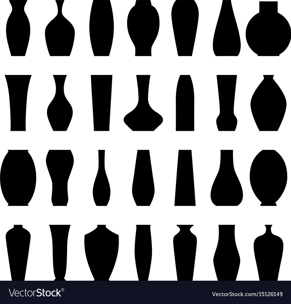 Set of silhouettes of vases