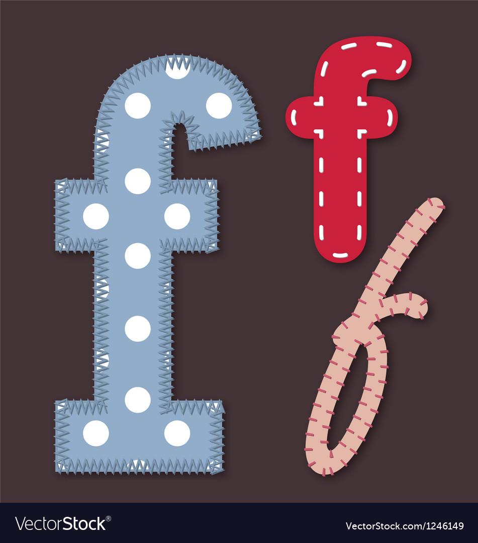 Set of stitched font - Letter F