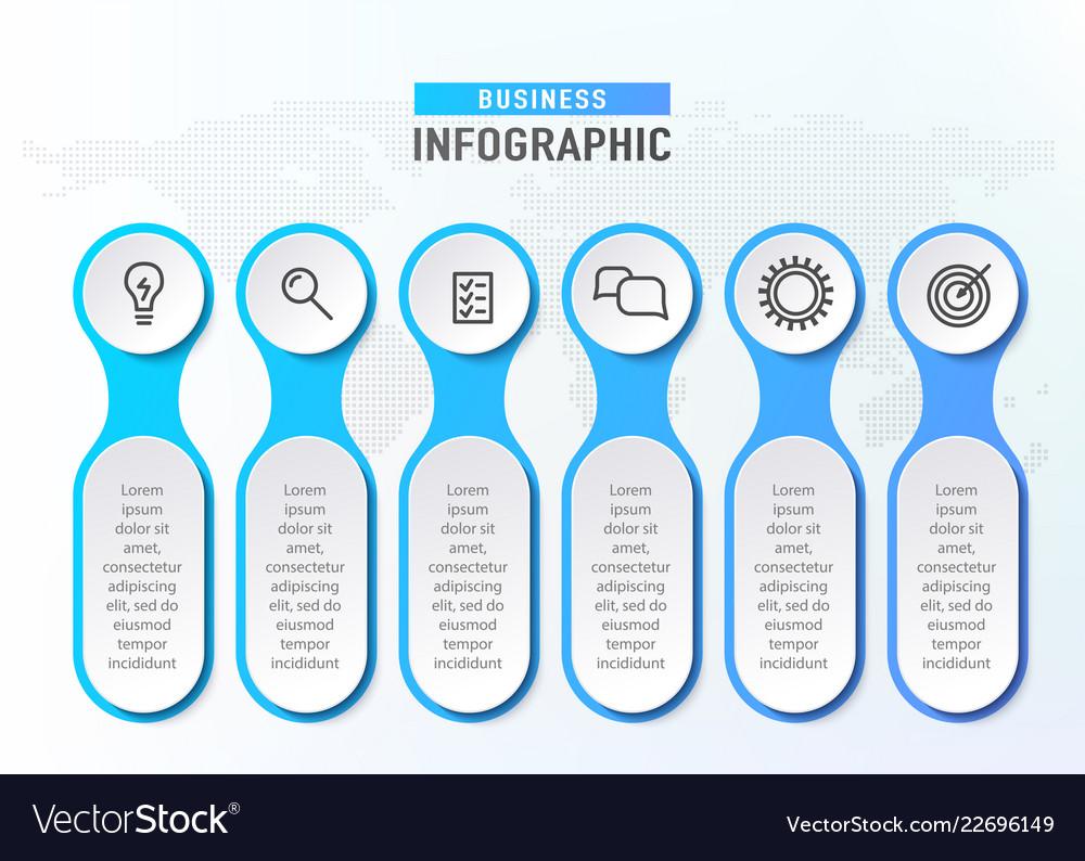 Six steps workflow infograph chart diagram