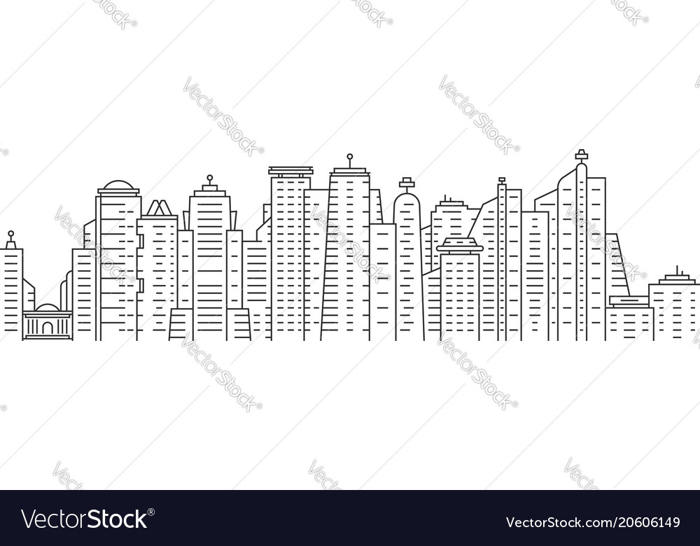 Thin line city panoramic view on white background