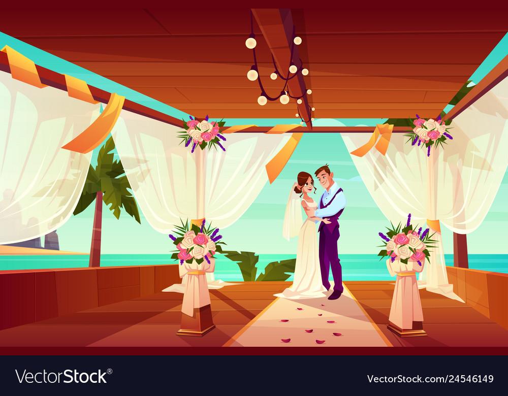 Wedding ceremony on ocean shore cartoon