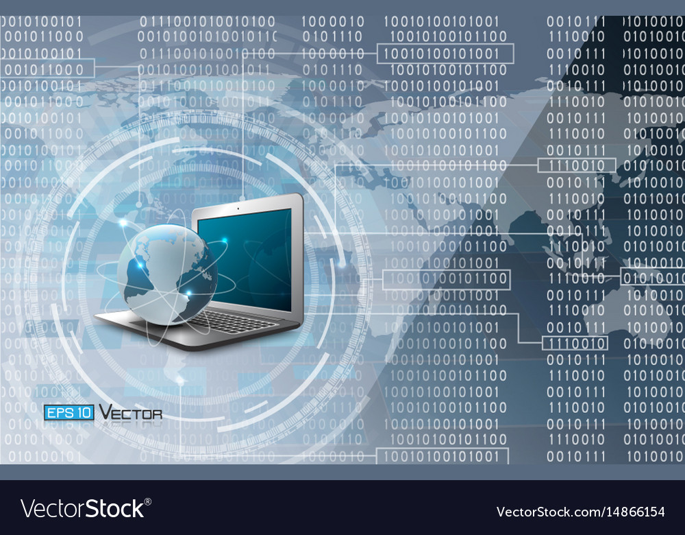 Binary code and world map and computer vector image