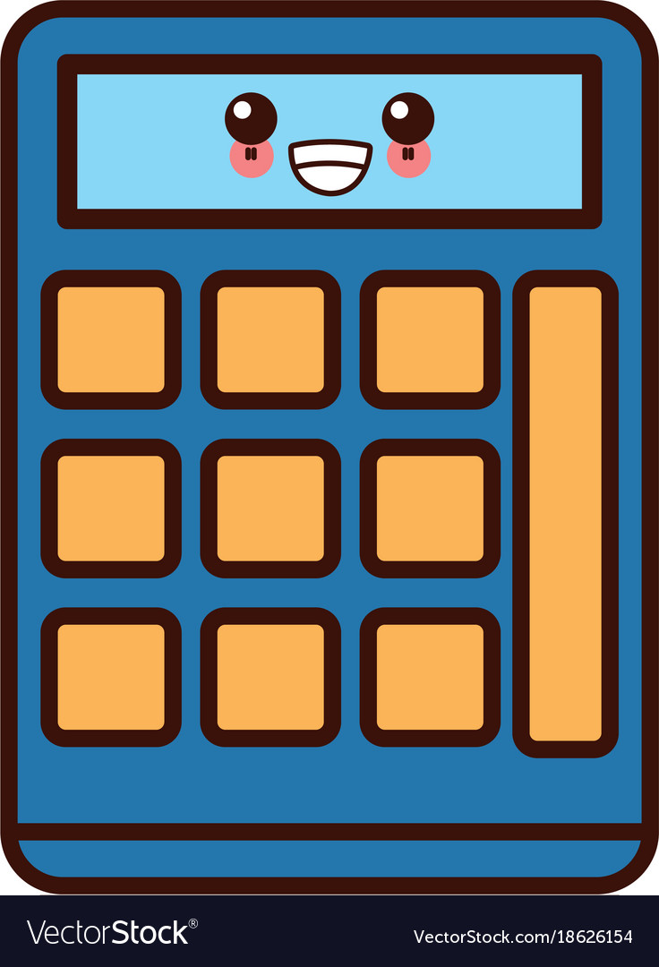 Calculator math device kawaii cute cartoon Vector Image
