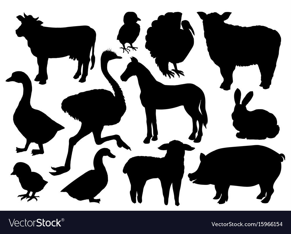Farm animals livestock silhouettes