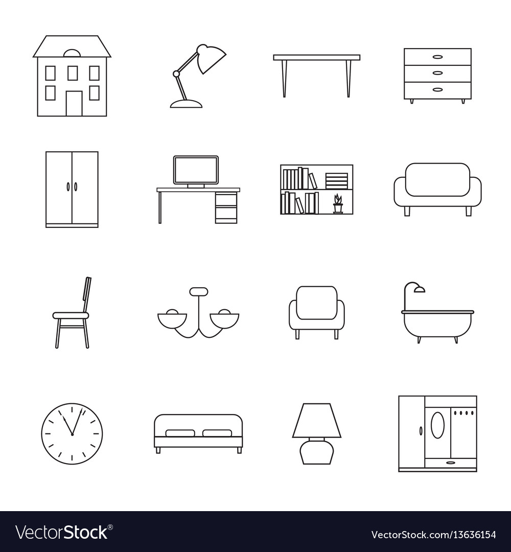 Furniture and home decor icons