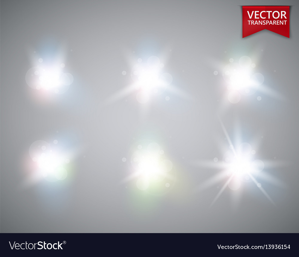 Glowing lights effect flare explosion and stars vector image