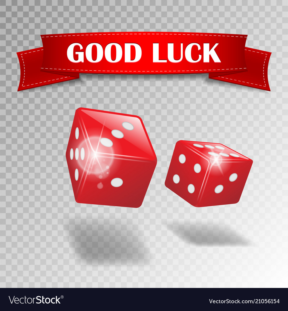 Good luck banner with realistic casino dice on vector
