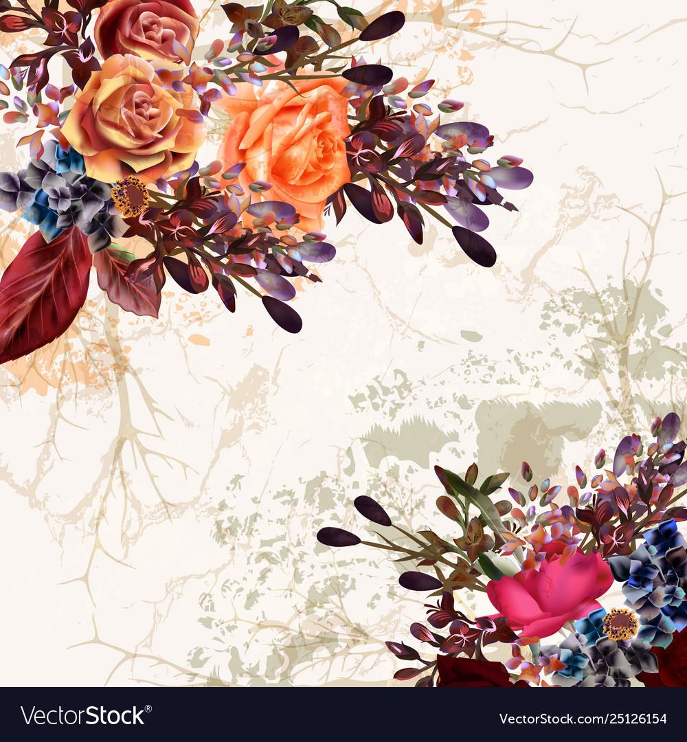 Grunge floral wedding or save date card