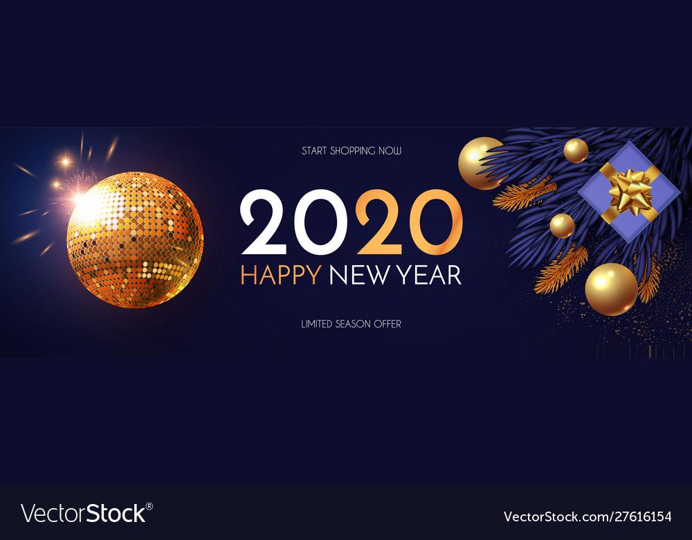 Happy new 2020 year shining holiday design