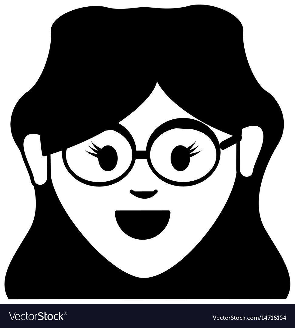 Happy nice woman with hairstyle and glasses vector image