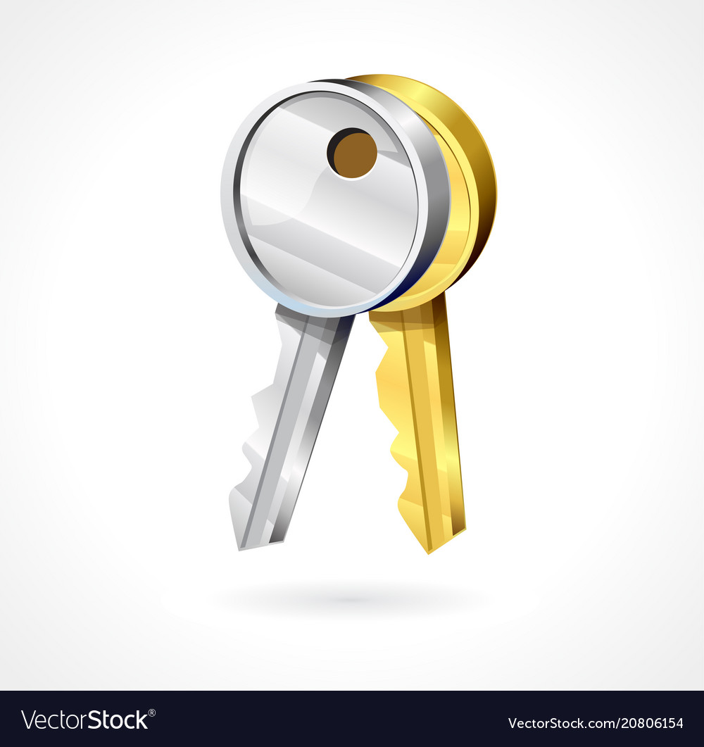 Key icons in gold and silver color