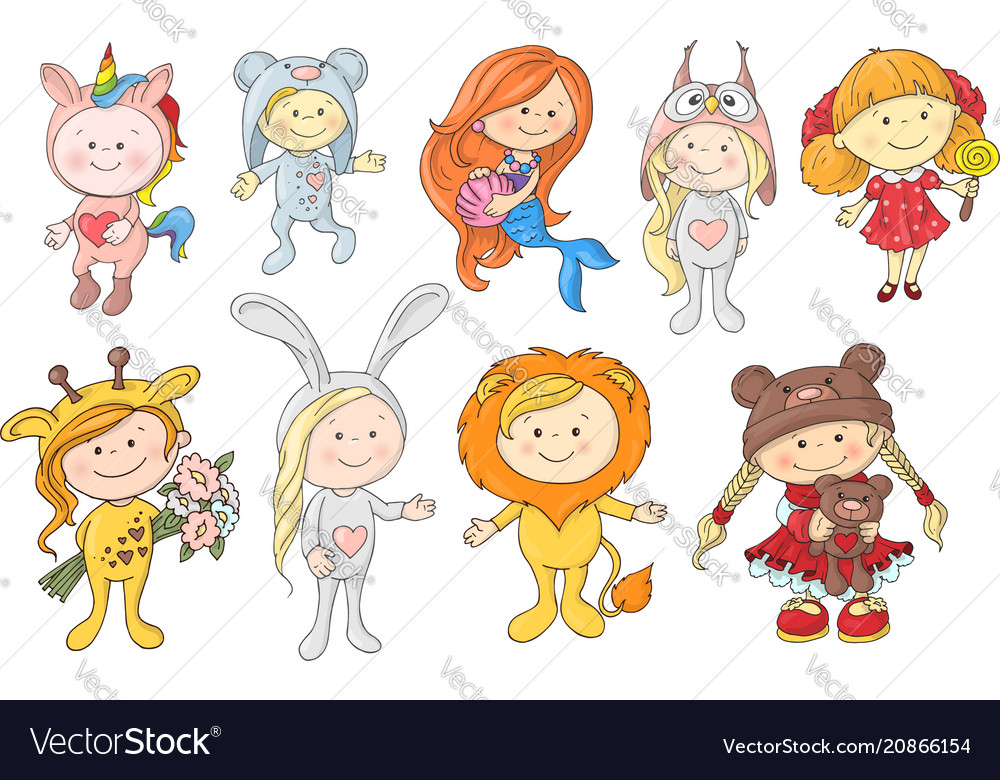 Set of cute cartoon babies in hats of different