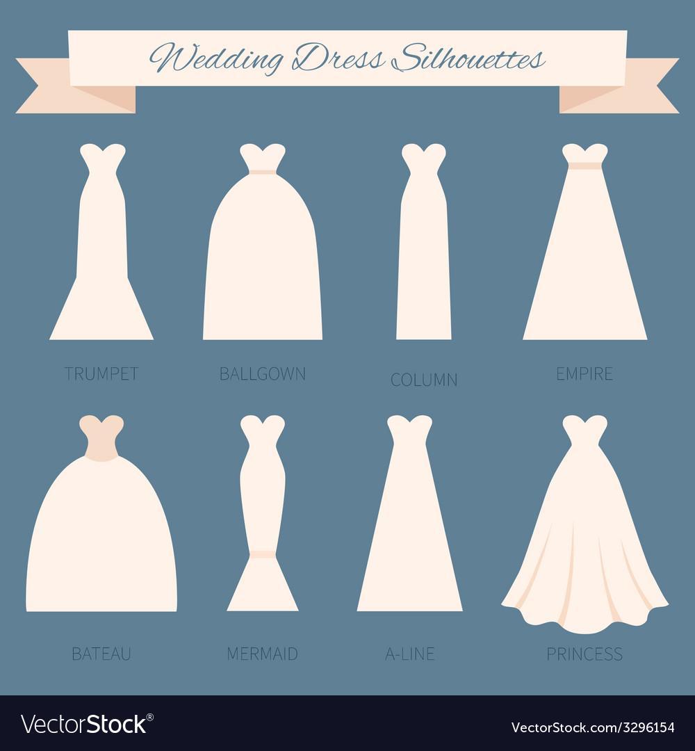 Wedding Dress Style Royalty Free Vector Image Vectorstock