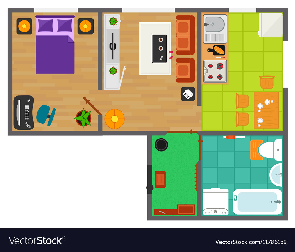 Detailed apartment furniture overhead top view