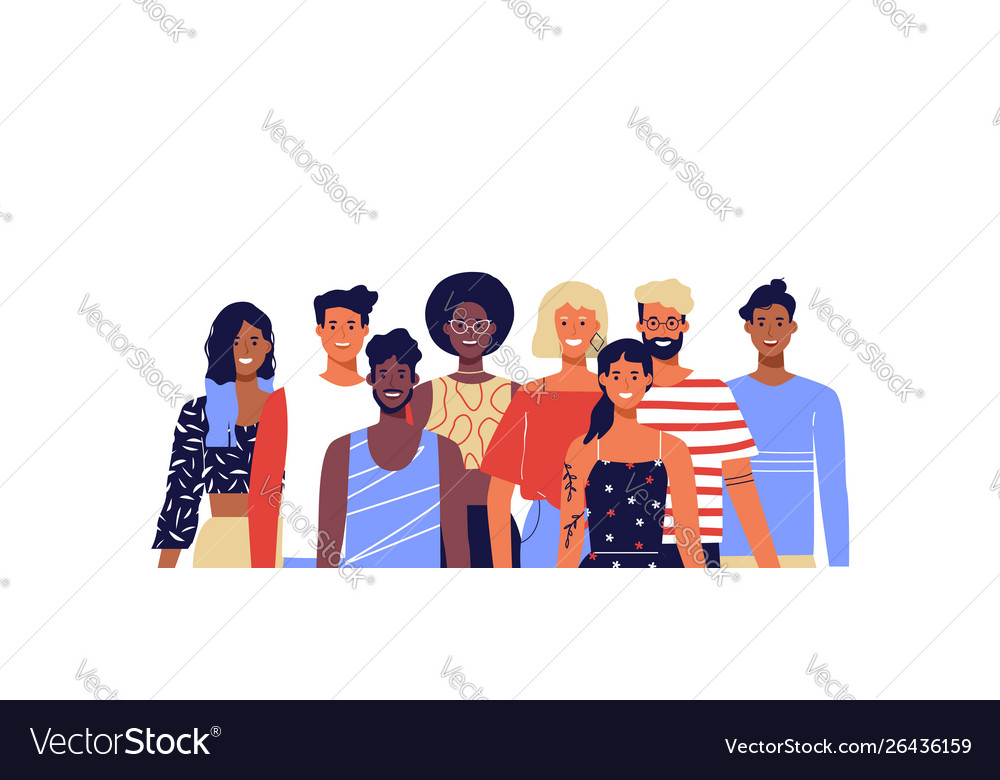 Diverse young people smiling isolated background