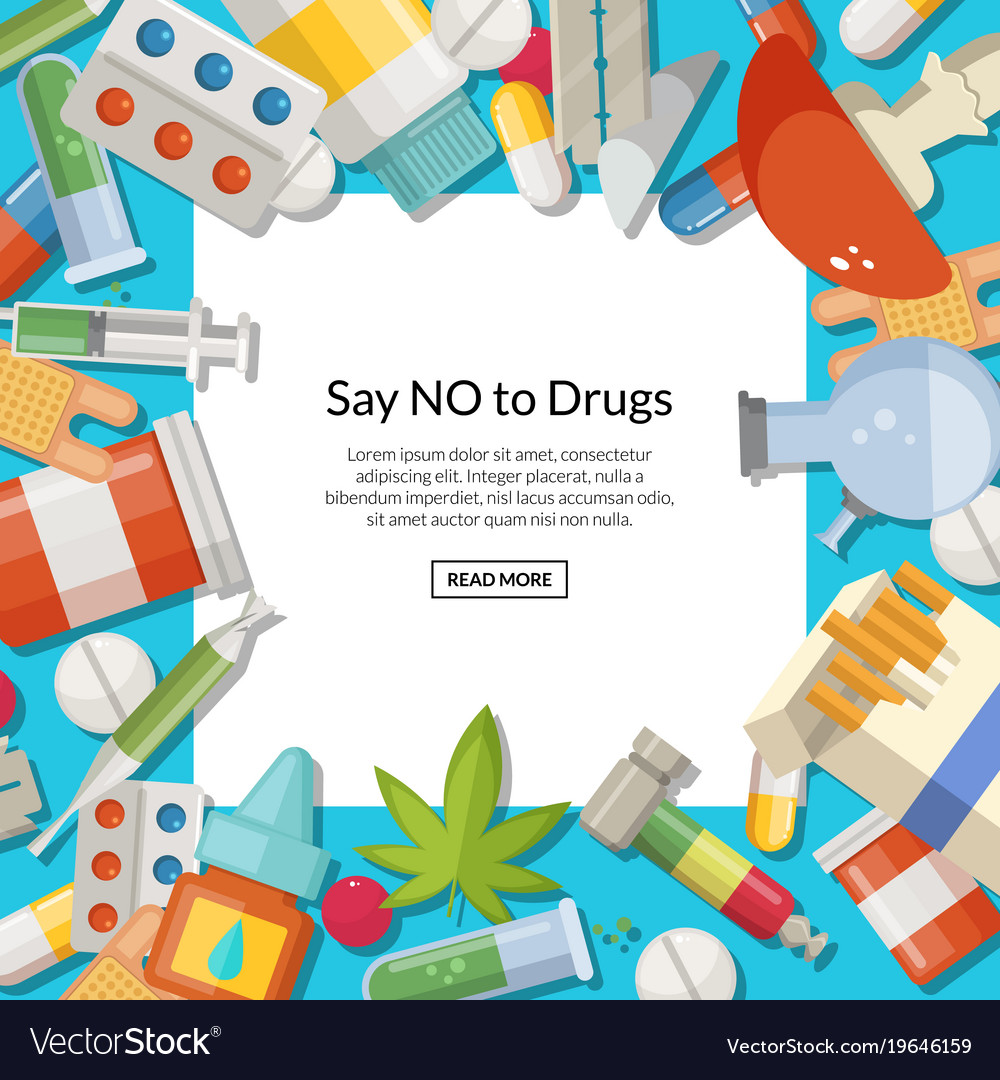 Drugs types background with white square vector image