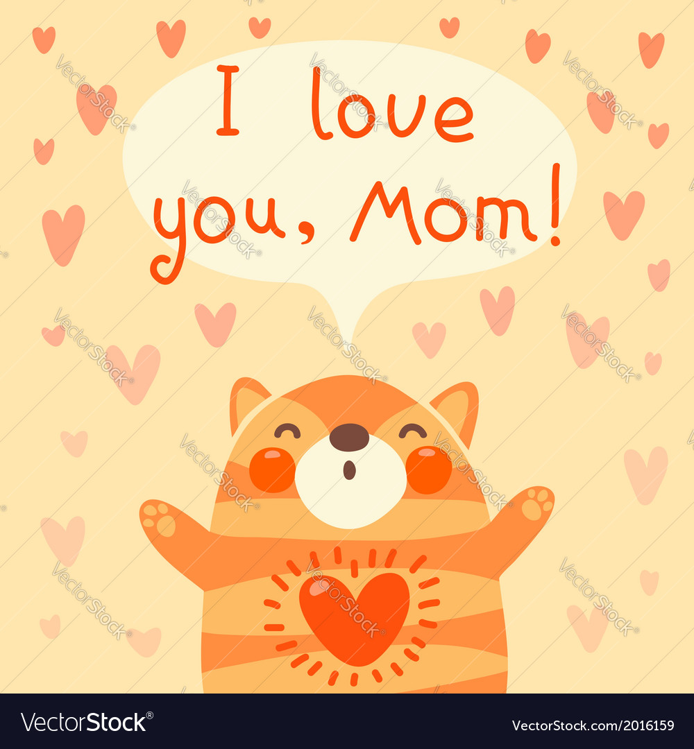 Greeting Card For Mom With Cute Kitten Royalty Free Vector